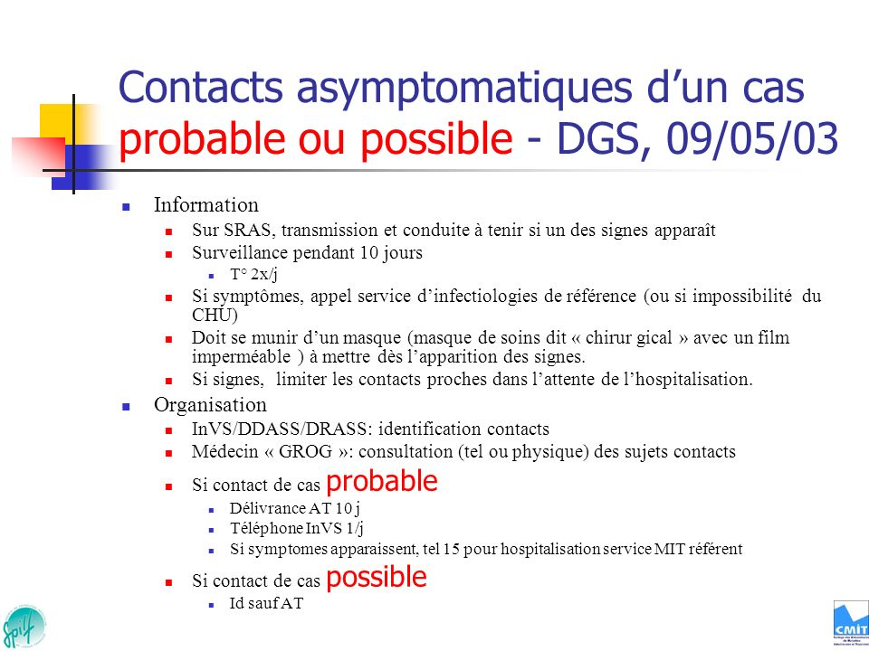 Contacts asymptomatiques d'un cas probable ou possible - DGS, 09/05/03