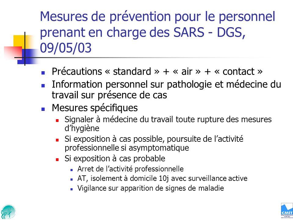 Mesures de prévention pour le personnel prenant en charge des SARS - DGS, 09/05/03