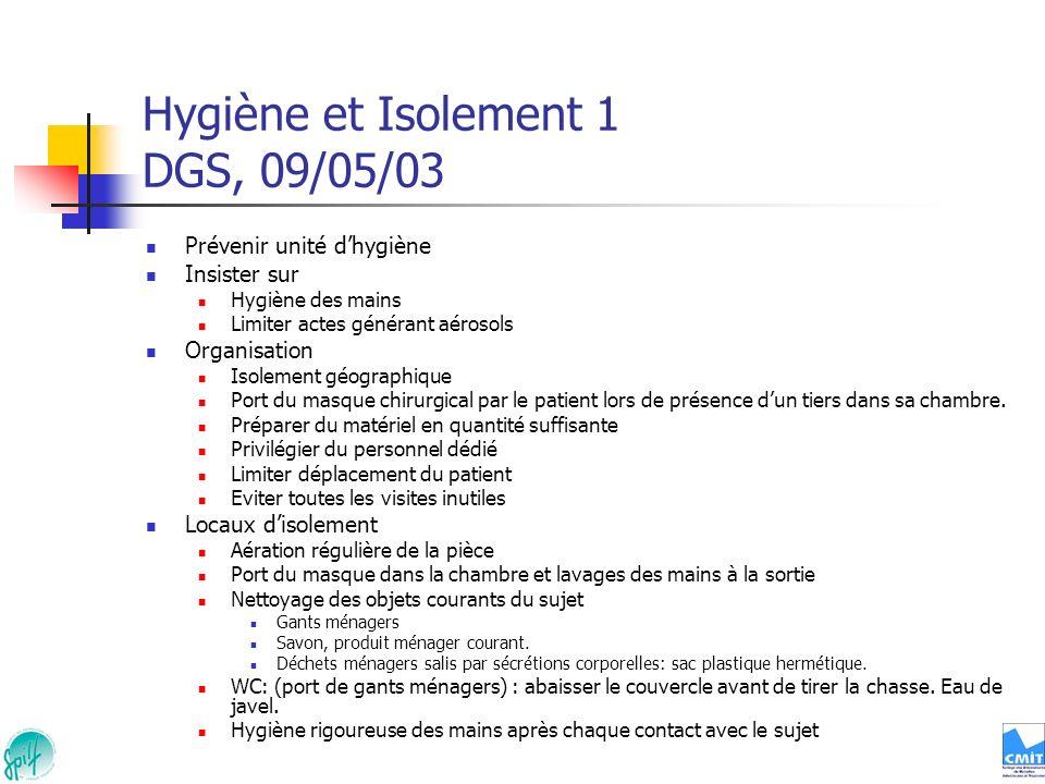 Hygiène et Isolement 1 DGS, 09/05/03