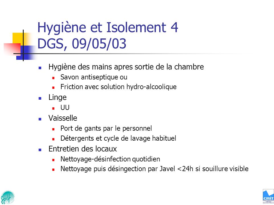 Hygiène et Isolement 4 DGS, 09/05/03