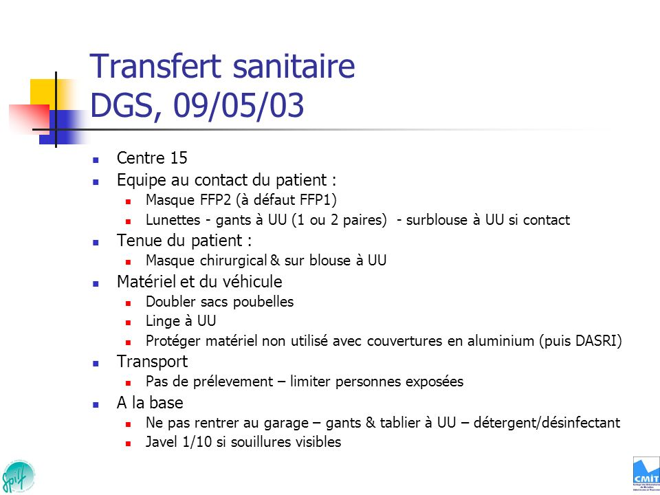 Transfert sanitaire DGS, 09/05/03