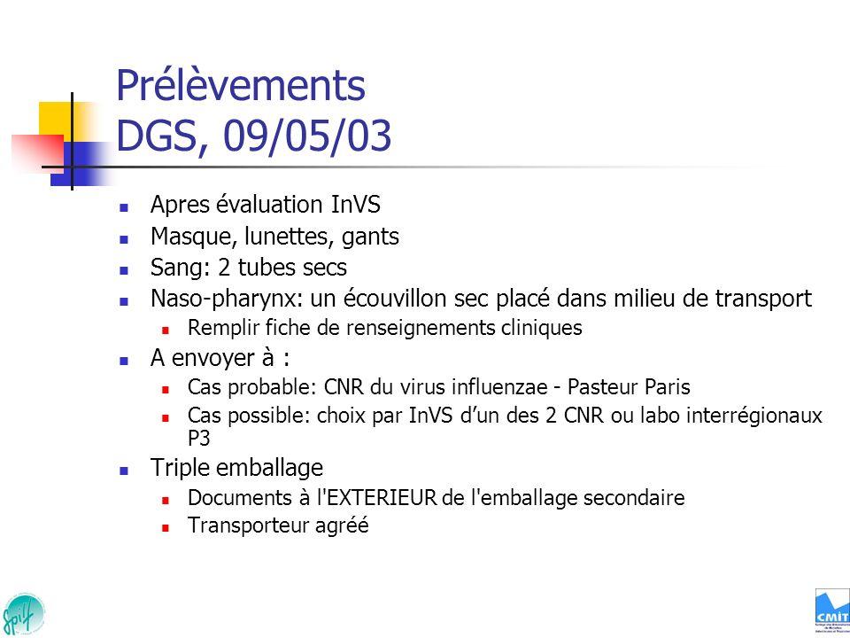 Prélèvements DGS, 09/05/03 Apres évaluation InVS