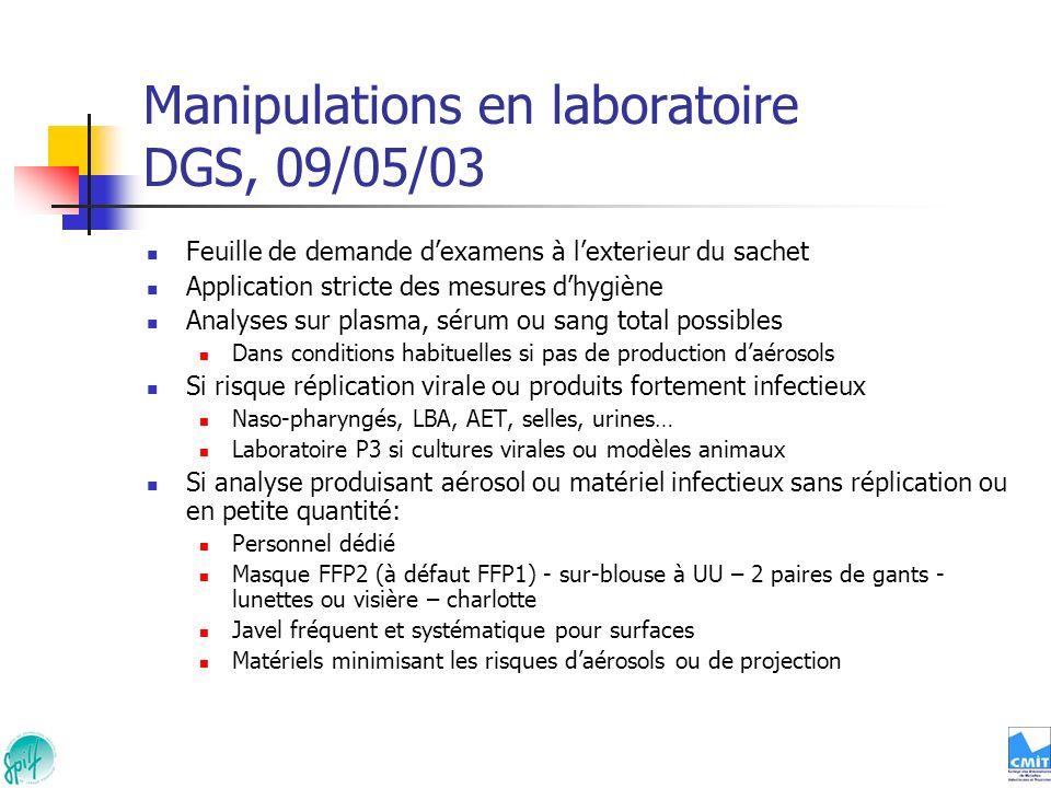 Manipulations en laboratoire DGS, 09/05/03