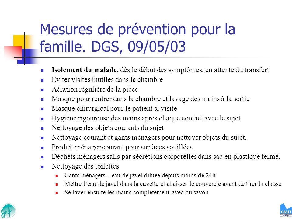Mesures de prévention pour la famille. DGS, 09/05/03