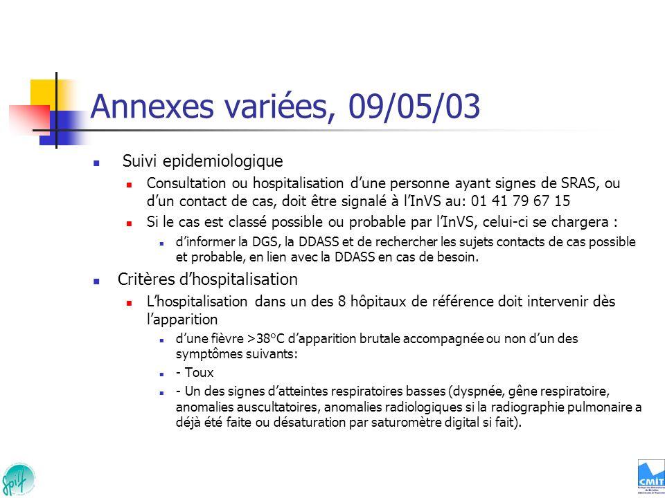 Annexes variées, 09/05/03 Suivi epidemiologique