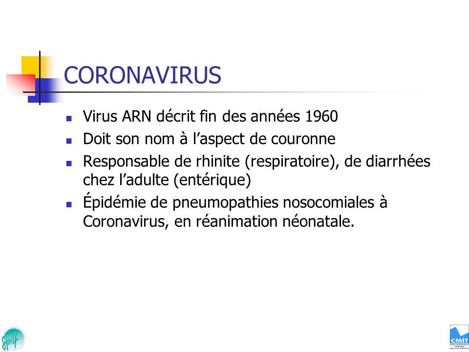 CORONAVIRUS Virus ARN décrit fin des années 1960