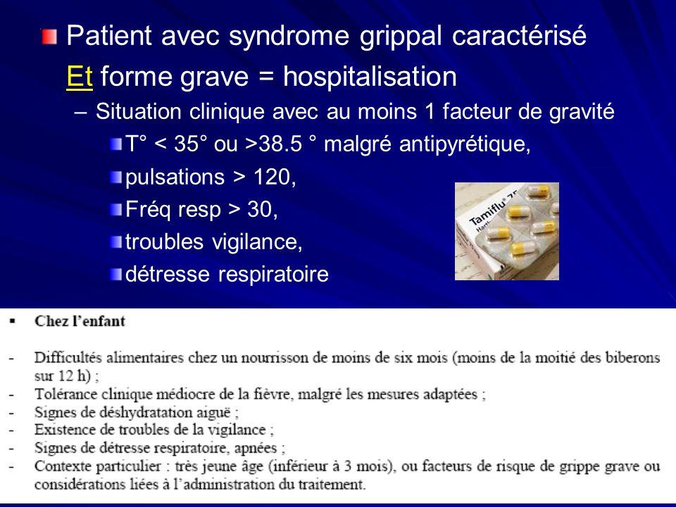 Patient avec syndrome grippal caractérisé