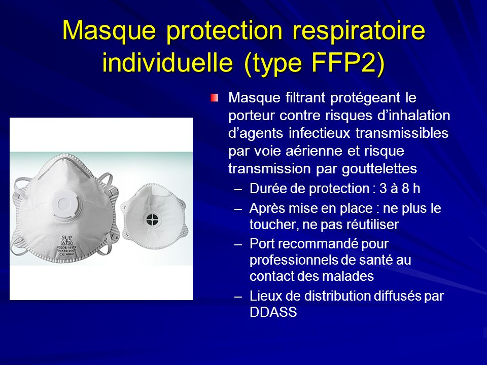 Masque protection respiratoire individuelle (type FFP2)