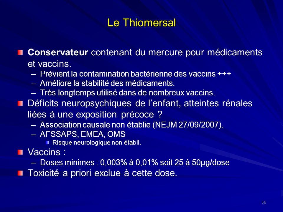 Le ThiomersalConservateur contenant du mercure pour médicaments et vaccins. Prévient la contamination bactérienne des vaccins +++