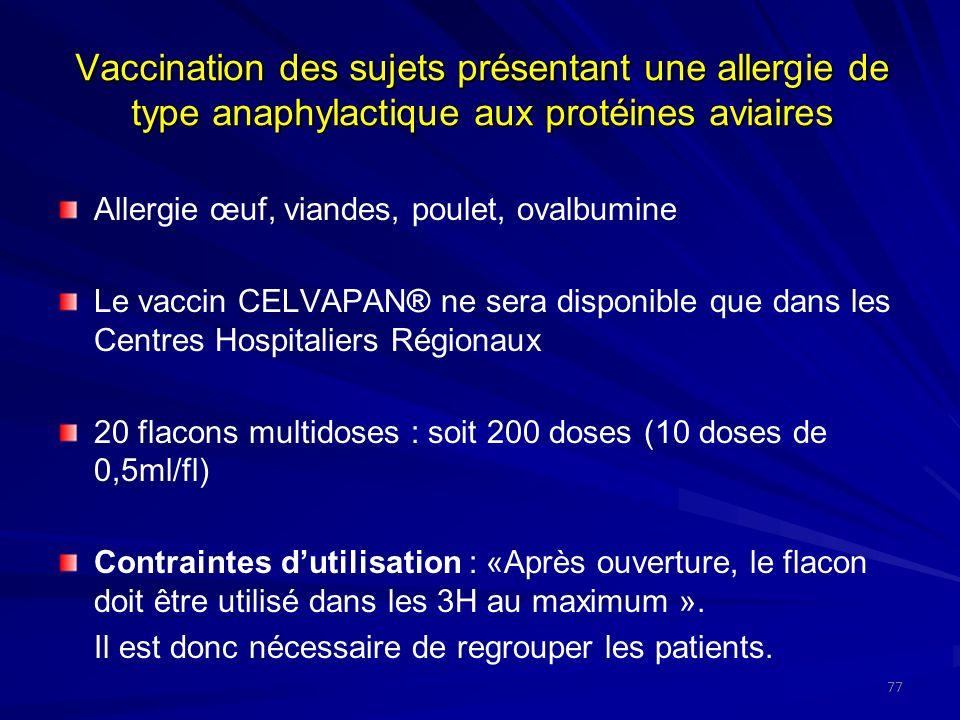 Vaccination des sujets présentant une allergie de type anaphylactique aux protéines aviaires