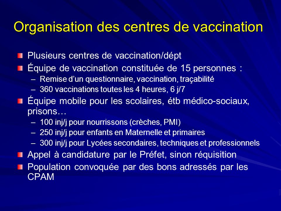 Organisation des centres de vaccination