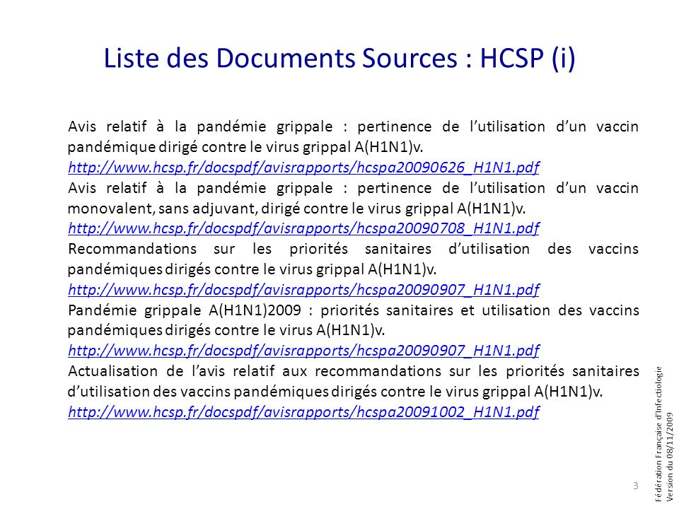 Liste des Documents Sources : HCSP (i)