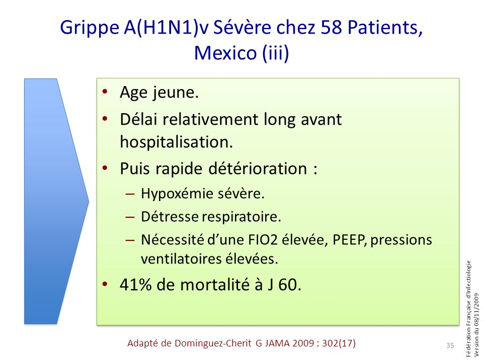 Grippe A(H1N1)v Sévère chez 58 Patients, Mexico (iii)