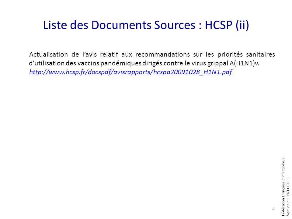 Liste des Documents Sources : HCSP (ii)