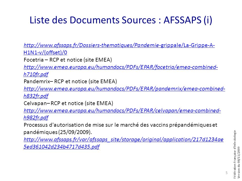 Liste des Documents Sources : AFSSAPS (i)