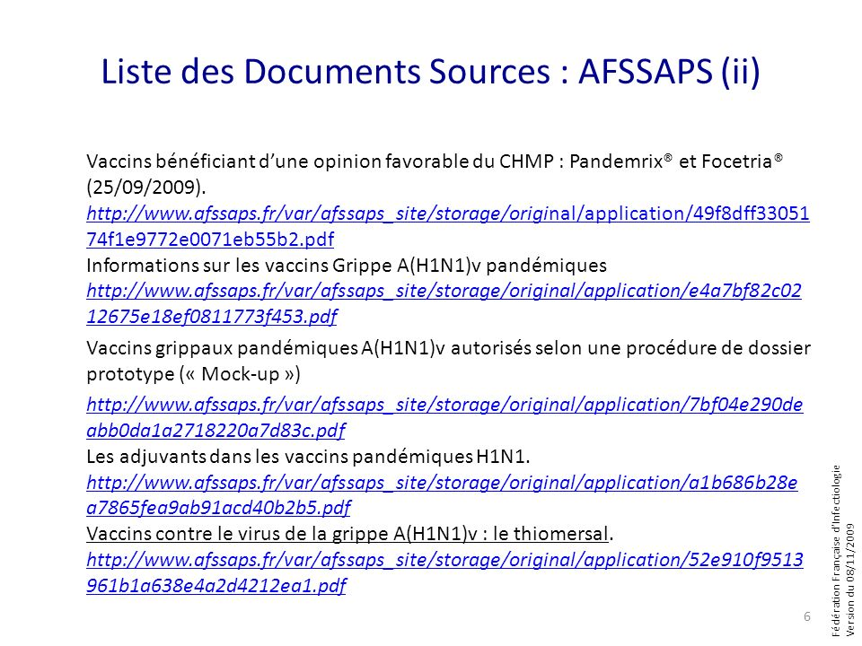 Liste des Documents Sources : AFSSAPS (ii)