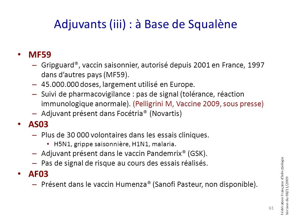 Adjuvants (iii) : à Base de Squalène