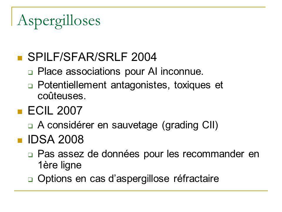 Aspergilloses SPILF/SFAR/SRLF 2004 ECIL 2007 IDSA 2008