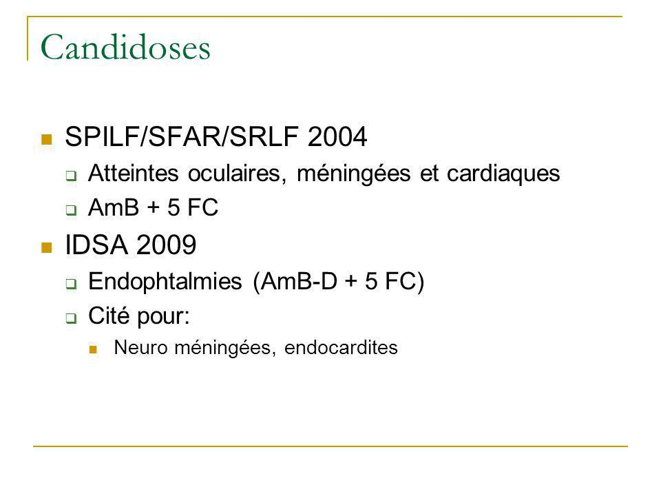 Candidoses SPILF/SFAR/SRLF 2004 IDSA 2009