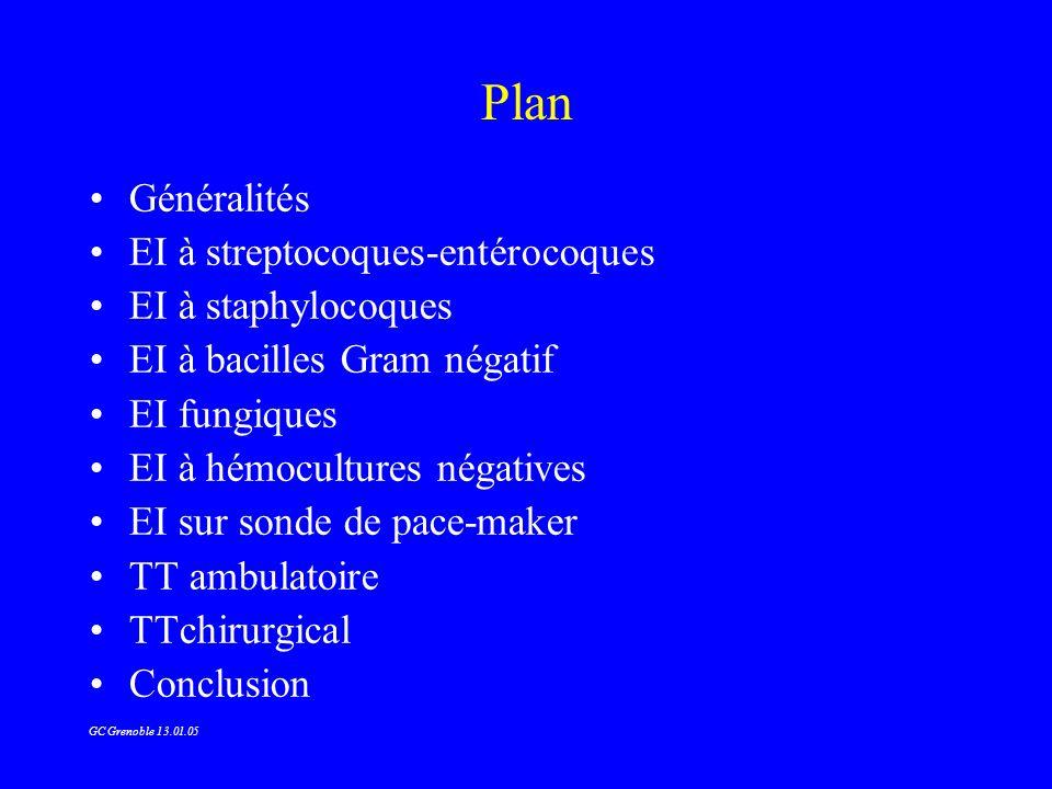 Plan Généralités EI à streptocoques-entérocoques EI à staphylocoques