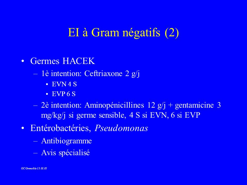 EI à Gram négatifs (2) Germes HACEK Entérobactéries, Pseudomonas
