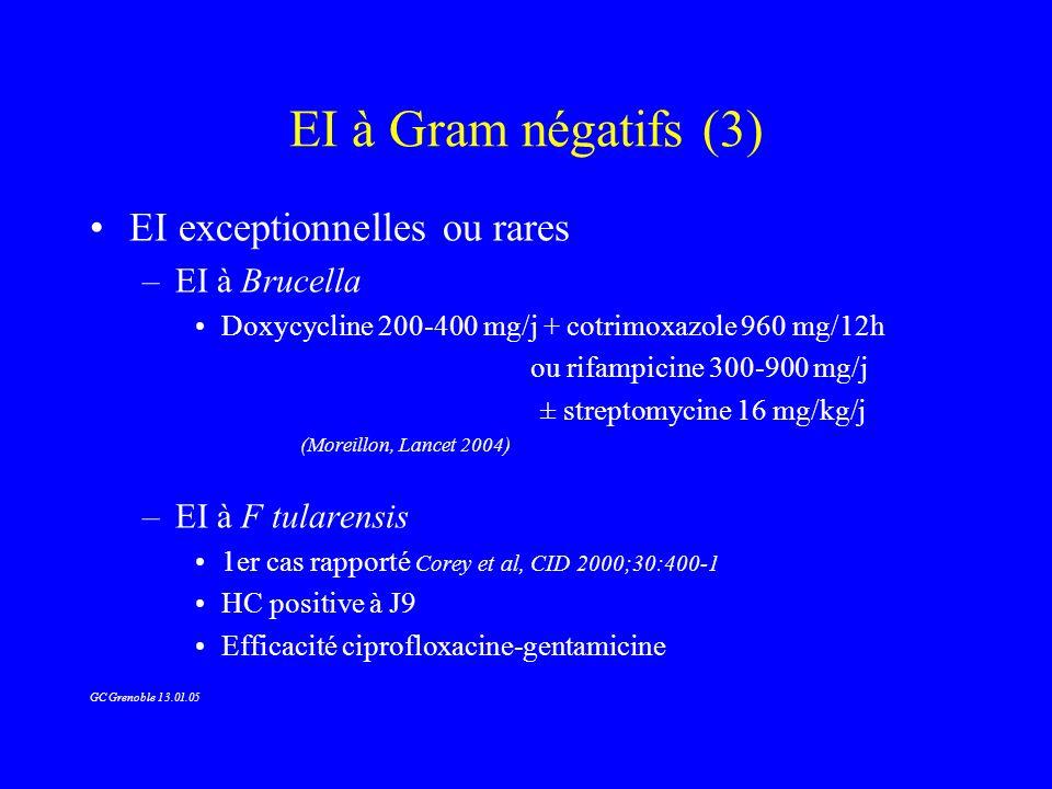 EI à Gram négatifs (3) EI exceptionnelles ou rares EI à Brucella