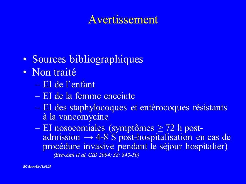Avertissement Sources bibliographiques Non traité EI de l'enfant