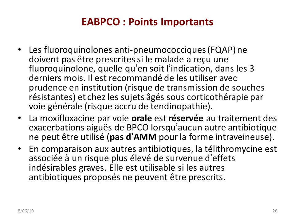 EABPCO : Points Importants