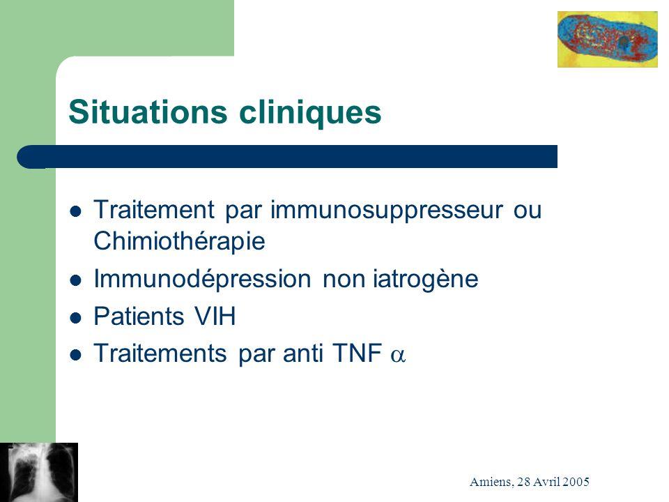 Situations cliniques Traitement par immunosuppresseur ou Chimiothérapie. Immunodépression non iatrogène.