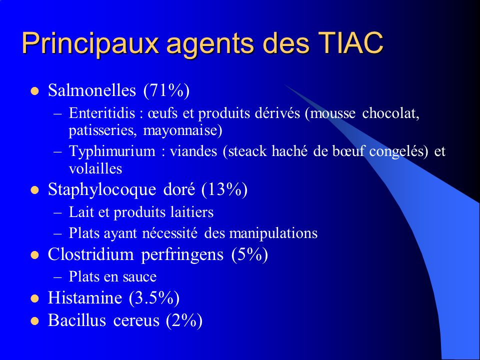 Principaux agents des TIAC