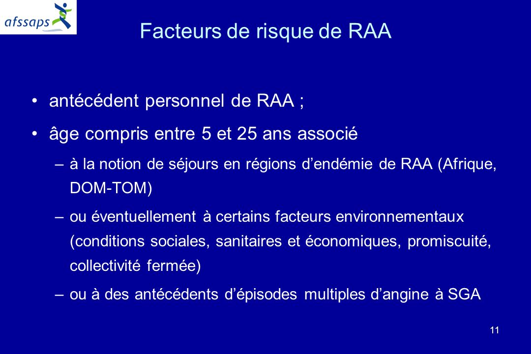 Facteurs de risque de RAA