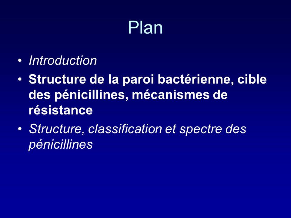 Plan Introduction. Structure de la paroi bactérienne, cible des pénicillines, mécanismes de résistance.