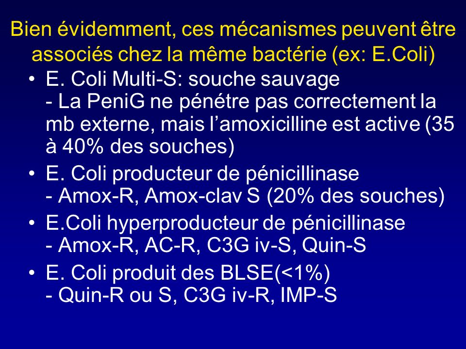 Bien évidemment, ces mécanismes peuvent être associés chez la même bactérie (ex: E.Coli)