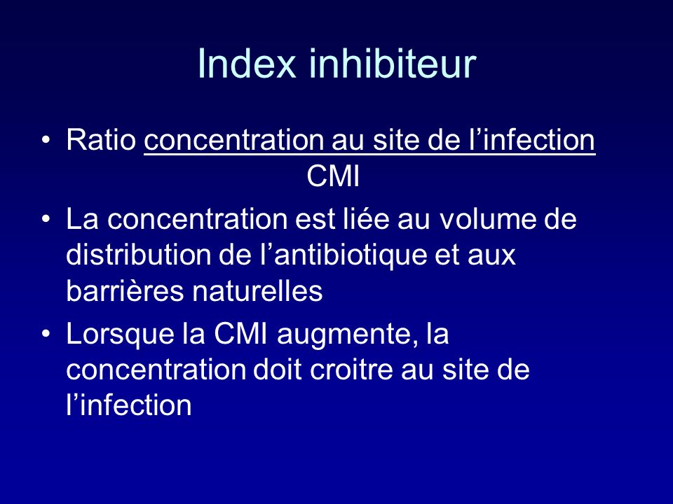 Index inhibiteur Ratio concentration au site de l'infection CMI