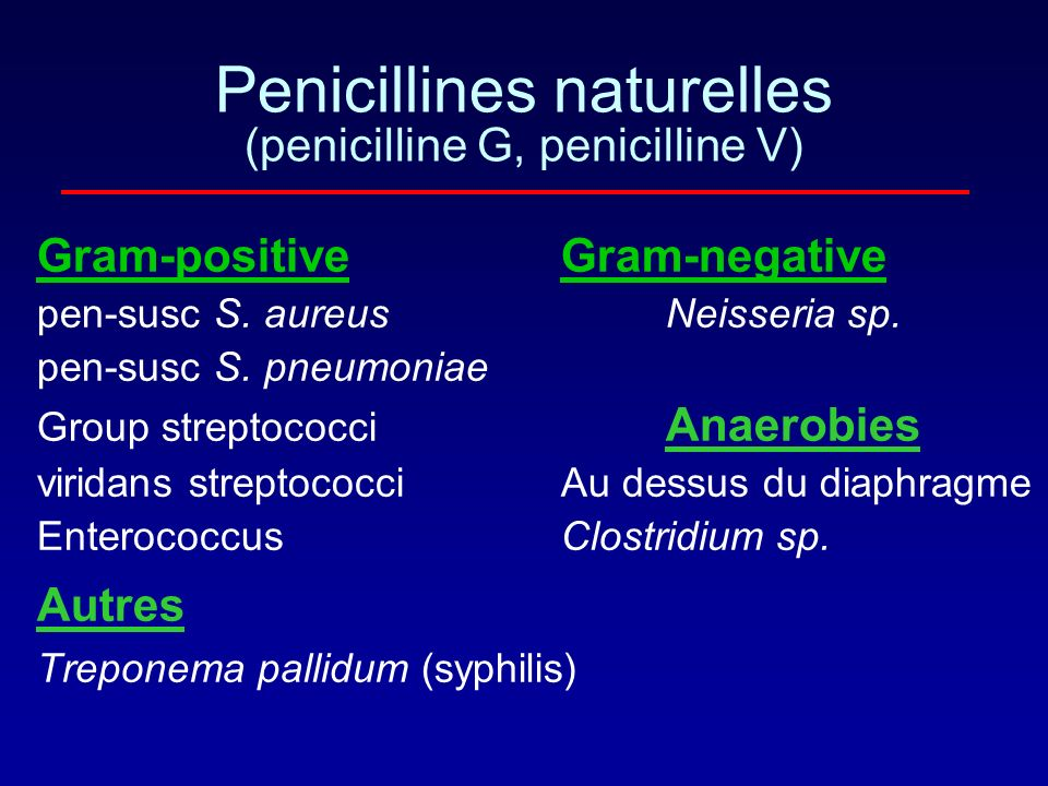 Penicillines naturelles (penicilline G, penicilline V)