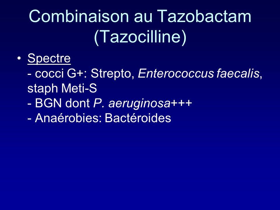 Combinaison au Tazobactam (Tazocilline)