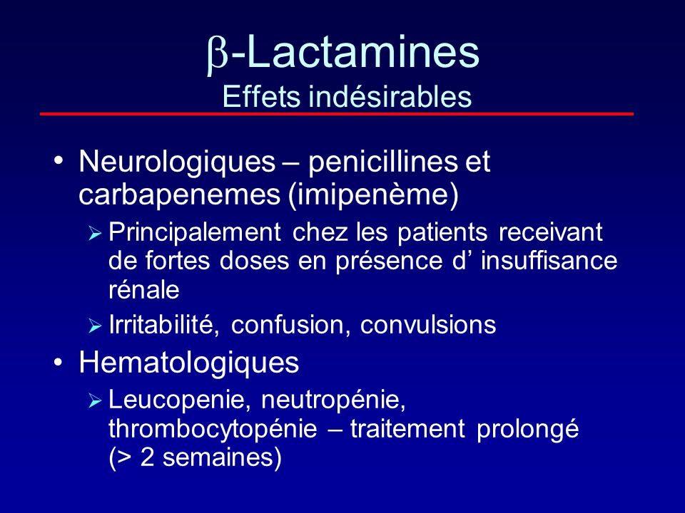 -Lactamines Effets indésirables