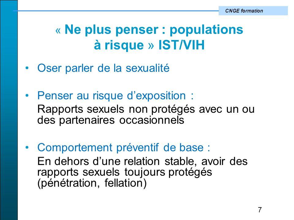 « Ne plus penser : populations à risque » IST/VIH