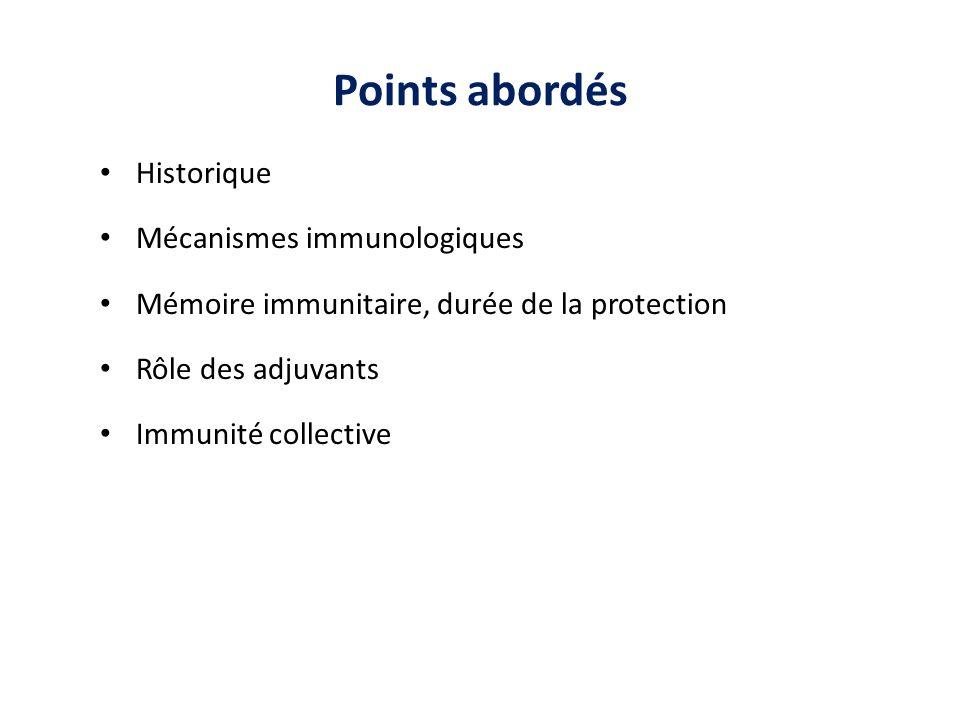 Points abordés Historique Mécanismes immunologiques