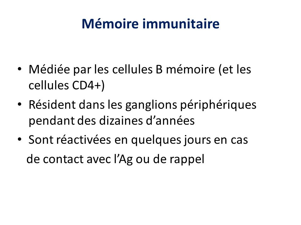 Mémoire immunitaire Médiée par les cellules B mémoire (et les cellules CD4+) Résident dans les ganglions périphériques pendant des dizaines d'années.