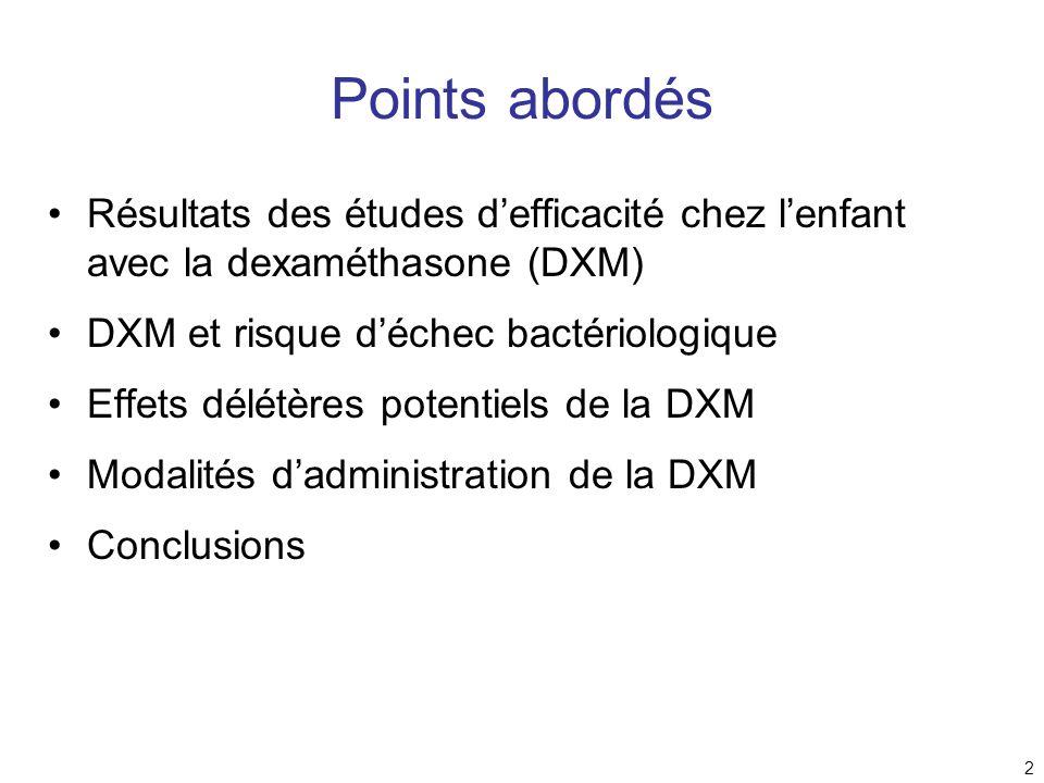 Points abordés Résultats des études d'efficacité chez l'enfant avec la dexaméthasone (DXM) DXM et risque d'échec bactériologique.
