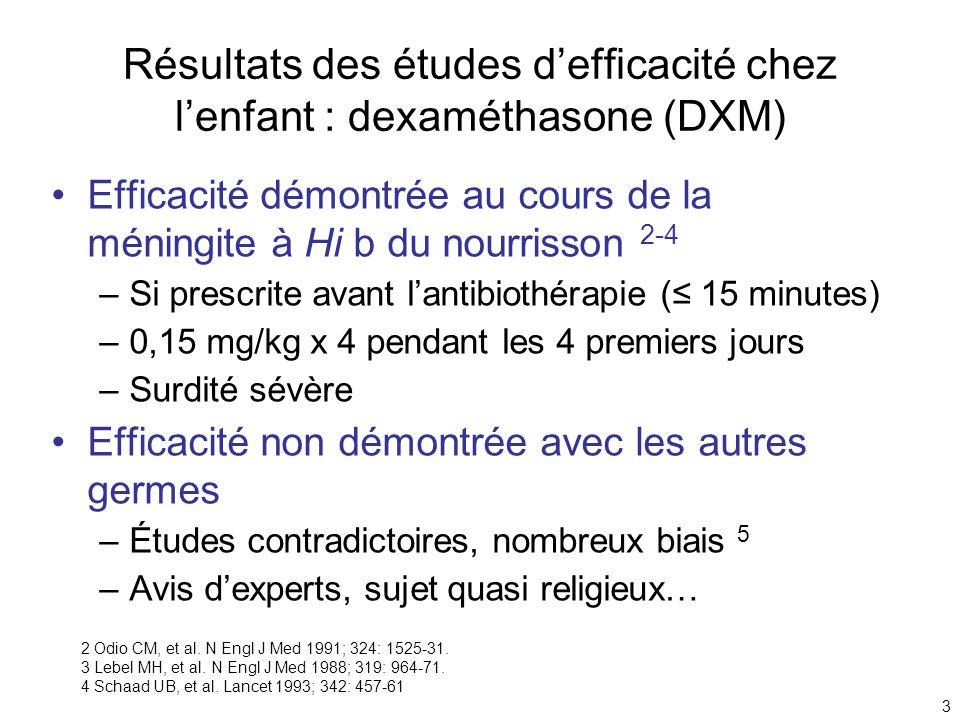 Résultats des études d'efficacité chez l'enfant : dexaméthasone (DXM)
