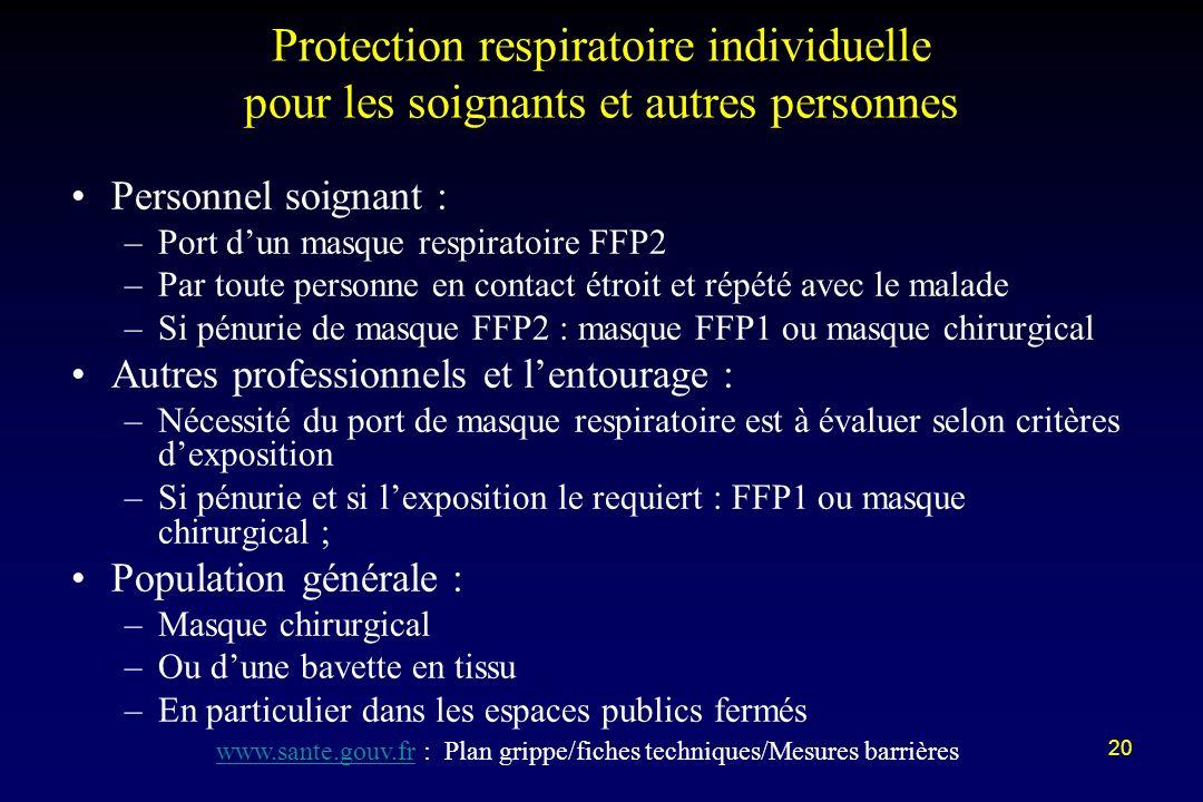 www.sante.gouv.fr : Plan grippe/fiches techniques/Mesures barrières