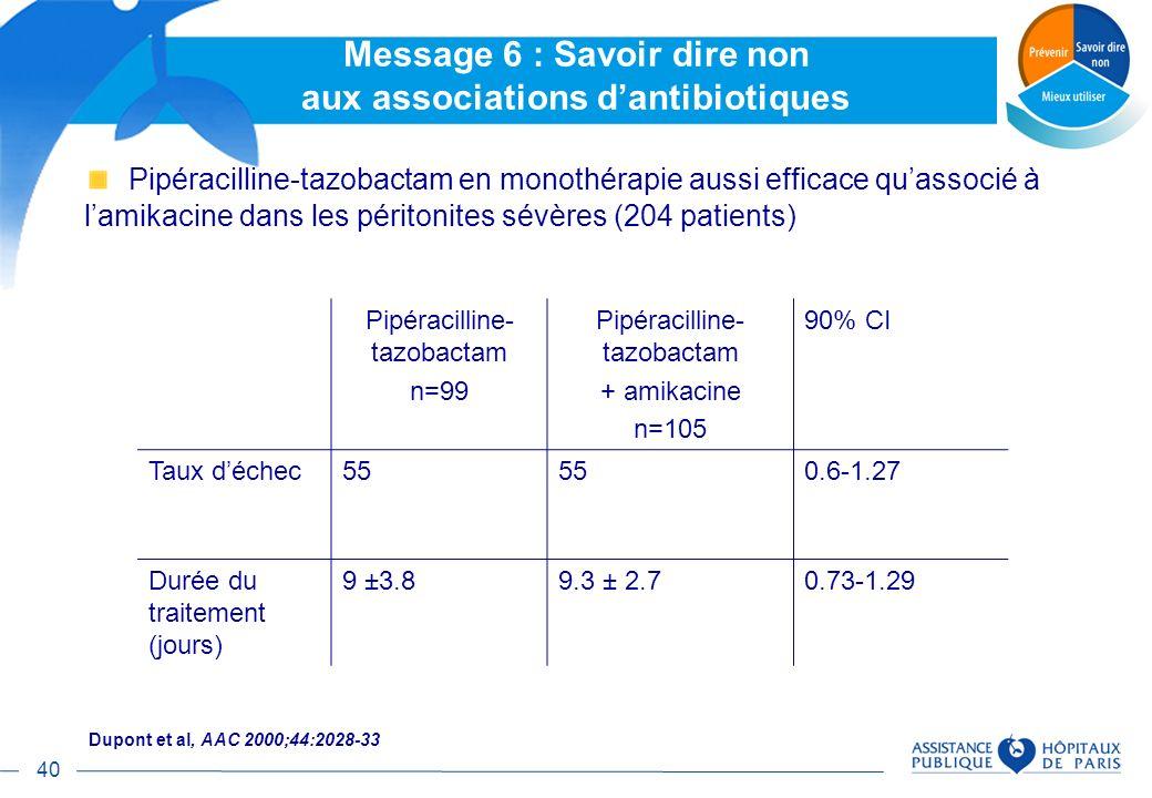 Message 6 : Savoir dire non aux associations d'antibiotiques