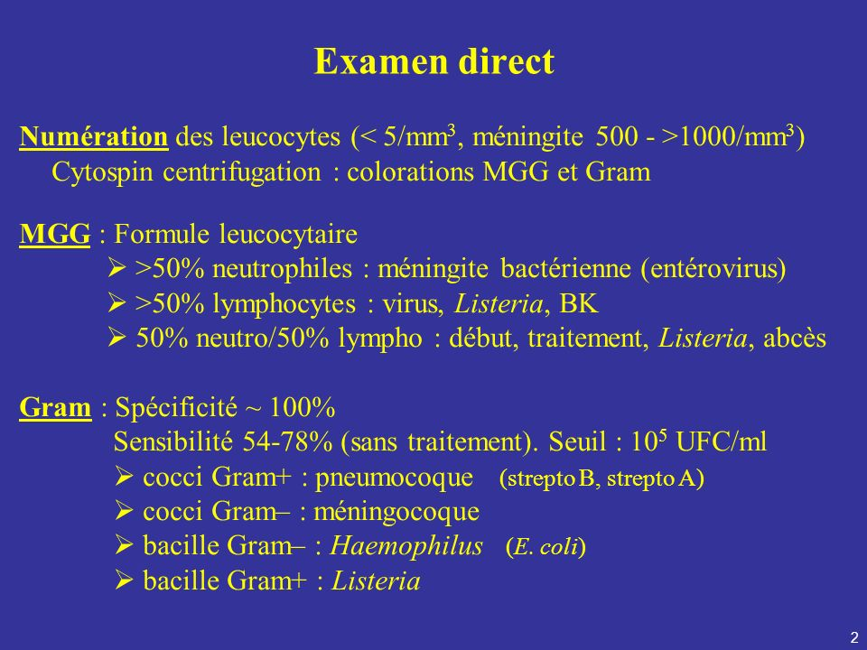 Examen directNumération des leucocytes (< 5/mm3, méningite 500 - >1000/mm3) Cytospin centrifugation : colorations MGG et Gram.