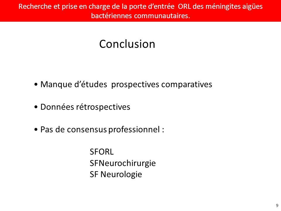 Conclusion Manque d'études prospectives comparatives