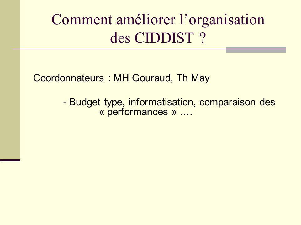 Comment améliorer l'organisation des CIDDIST