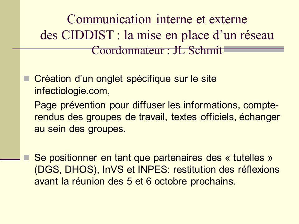 Communication interne et externe des CIDDIST : la mise en place d'un réseau Coordonnateur : JL Schmit