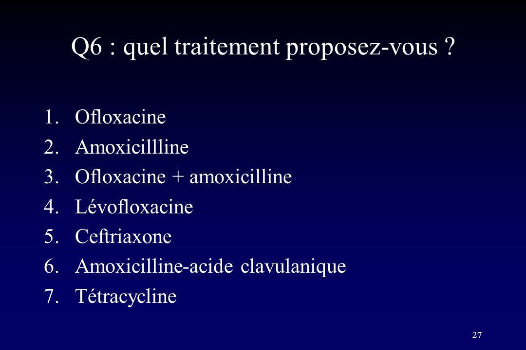 Q6 : quel traitement proposez-vous