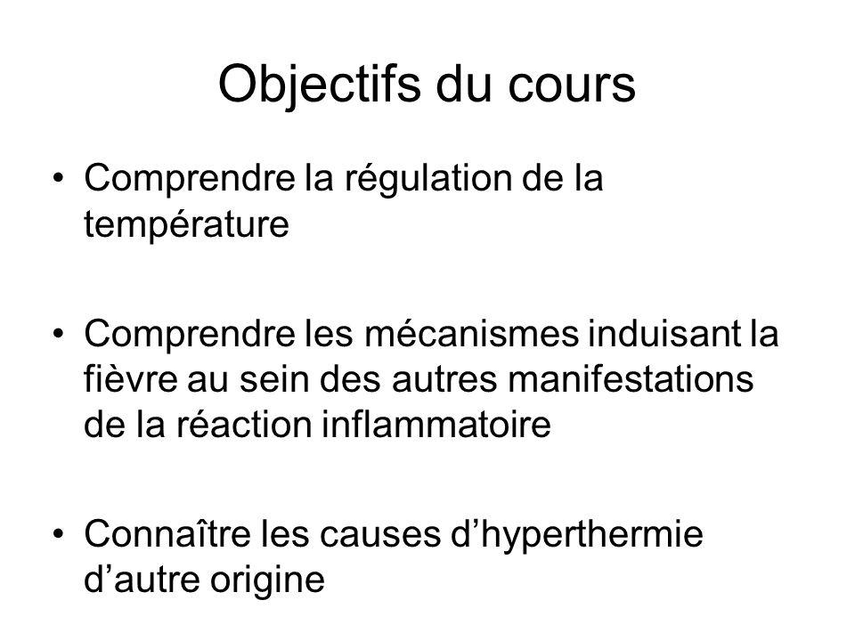 Objectifs du cours Comprendre la régulation de la température